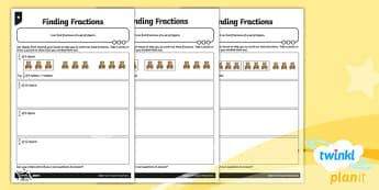 PlanIt Y3 Fractions Recognise and Find Fractions of a Set of Objects Home Learning - Fractions, homework, fractions of groups, fraction of a group, fraction of an amount, fraction of a number, fraction of a set