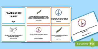 frases del día de la Paz Tarjetas informativas - Día de la Paz, Gandhi, violencia, convivencia, conflictos, mediación, paloma, paz, frases, citas,