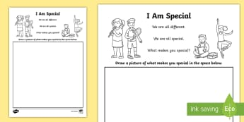 I Am Special Activity Sheet - SPHE, RSE, Relationship and Sexuality education, myslef, me, all about me, special, unique,Irish