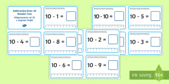 Subtraction from 10 Number Line Challenge Cards English/Polish - Subtraction Up to 10 with a Number Line Challenge Cards,subtraction, up to 10, number line, challeng