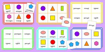 2D Shape Bingo Cymraeg - welsh, cymraeg, 2d shape, bingo, game, activity, shape, 2d, maths, numeracy