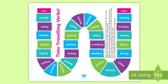 Present Tense to Past Tense Verbs Board Game - literacy, writing, grammar, tense, past, present, changing tense,