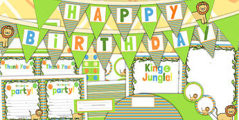 Jungle Themed Birthday Party Pack - jungle, party, birthday