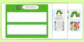 Days of the Week Matching Game to Support Teaching on The Very Hungry Caterpillar - The Very Hungry Caterpillar, game, activity, Eric Carle, resources, Hungry Caterpillar, life cycle of a butterfly, days of the week, food, fruit, story, story book, s