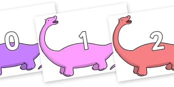 Numbers 0-100 on Apatosaurus to Support Teaching on Harry and the Bucketful of Dinosaurs - 0-100, foundation stage numeracy, Number recognition, Number flashcards, counting, number frieze, Display numbers, number posters
