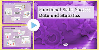 Functional Skills Data and Statistics Success Powerpoint - KS4, KS5, adult education, maths, numeracy, functional skills, SEN, assessment, objectives