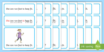 Keep Fit Simple Sentence Cards - Sentences, sentence cards, reading, phonics, eyfs, literacy