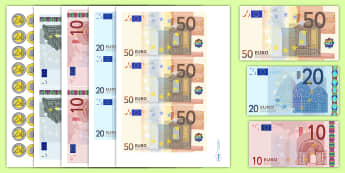 Euro Money Cut Outs - euros, money cut outs, pretend money, fake money, euro money cut outs, euro role play money, euro coins, euro notes, role play money