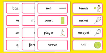 The Olympics Tennis Word Cards - Tennis, Olympics, Olympic Games, sports, Olympic, London, 2012, word card, flashcards, cards, activity, Olympic torch, events, flag, countries, medal, Olympic Rings, mascots, flame, compete