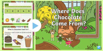 KS1 Where Does Chocolate Come From? PowerPoint - KS1, Key Stage 1, Key Stage One, Year One, Year 1, Y1, Year Two, Year 2, Y2, chocolate, food, where