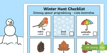 Winter Hunt Checklist English/Polish - Winter Hunt Checklist - winter, hunt, winter hunt, checklist, can you see, sensory walk, winter sens