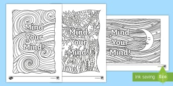 Mind Your Mind Mindfulness Colouring Page - Twinkl Teacher Requests, mindfulness colouring, SPHE, mind your mind, mental health, well being, loo