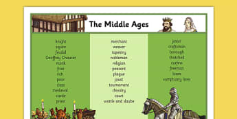 Middle Ages Word Mat - middle ages, medieval, history, word mat, word, mat