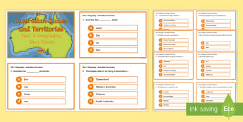 Year 3 AC Geography Australian States and Territories Quiz Cards - ACHASSK066,  Aboriginal and Torres Strait Islander Peoples, formative assessment, prior knowledge, q