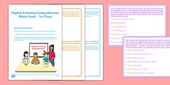 English Listening Comprehension Cards 1st Class - roi, irish, gaeigle, listening activity, question words, english, reading, comprehension, task cards