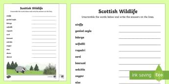 Scottish Wildlife Word Unscramble - Vocabulary Development, anagrams, scramble, spelling, keywords, Scotland,Scottish