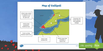 KS2 The Battle of Gallipoli Map - KS1&KS2 ANZAC day (UK market) April 25th 2017,  Gallipoli, history, map, geography