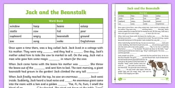 Jack and the Beanstalk Traditional Tale Cloze Procedure Differentiated Activity Sheet Pack, worksheet