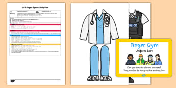 EYFS Uniform Sort Finger Gym Plan and Prompt Card Pack - eyfs, uniform, sort, finger, gym, plan, prompt, card