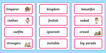 The Emperors New Clothes Word Cards - story books, visual aids