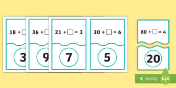 Missing Numbers in Division Number Sentences Years 3-6 Matching Cards - dividing, sharing, times tables, inverse, operations, pairs, game, calculations