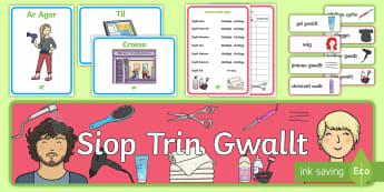 Pecyn Chwarae Rôl Siop Trin Gwallt - chwarae rol, trin gwallt, siop trin gwallt, siop, iaith, Welsh.