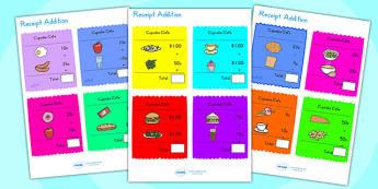 Receipt Addition Maths Activity Sheets - add, addition game, math, worksheet