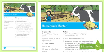 Homemade Butter Recipe - Early Childhood Animals, Animals, Pre-K Animals, K4 Animals, 4K Animals, Preschool Animals, Farm Ani