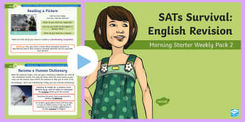 SATs Survival: Year 6 English Revision Morning Starter Weekly PowerPoint Pack 2 - SATs Survival Materials Year 6, SATs, assessment, 2017, English, SPaG, GPS, grammar, punctuation, sp