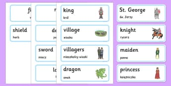 St George and the Dragon Story Word Cards Polish Translation - polish, St George, princess, maiden, dragon, Margaret Hodges, word card, flashcards, cards, king, story book, book, book resources, story