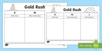 Gold Rush KWL Chart Activity Sheet - Australian colony, ACHASSK108, gold, gold rush, Australian Gold Rush,  worksheet, ACHASSK109,Austral