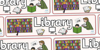 Library Role Play Display Banner - library, books, book, banner, sign, poster, display, fiction, non-fiction, reading, card, librarian, shalves, labels, label