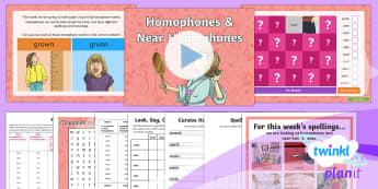PlanIt Spelling Y3 Term 2B W2: Homophones and Near Homophones Spelling Pack - Spellings Year 3, Y3, Year 3, SPaG, GPS, homophones, weekly, lists, tests, pack, appendix 1, spellin