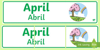 April Display Banner English/Portuguese - April Display Banner - april, display banner, display, banner, months, year, abnner, eal