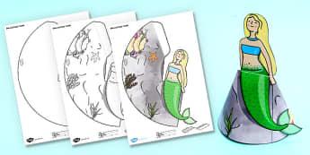 Under the Sea Simple 3D Sea Mermaid - craft, model, paper, 3d