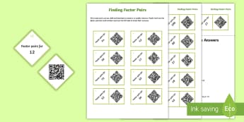 Year 5 Factor Pairs Code Hunter - QR Codes, factors, pairs, multiply, product