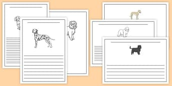 Dog Themed Writing Frames - Dame Lynley Dodd, hairy maclary, dog, writing frames
