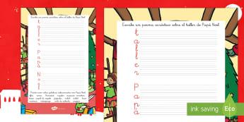 Acróstico: El taller de Papá Noel - escritura, poesia, ecribir, escritura natural, navidad