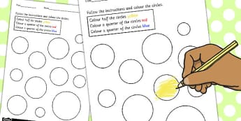 Fractions Colouring Sheet Circles - shapes, circle, colours