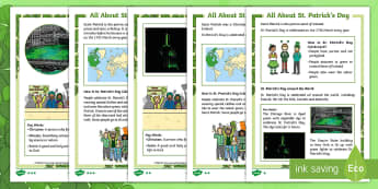 KS1 St. Patrick's Day Differentiated Fact File - St Patrick's Day, saint patrick, patron saint, ireland, reading, understanding, irish week,