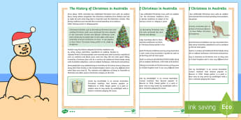 History of Christmas in Australia Differentiated Fact File - Christmas Australia, history, Australia, Christmas,Australia