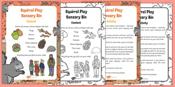 Squirrel Play Sensory Bin and Prompt Card Pack - touch, feel, share, think, discuss, talk, explain, write, group, small, independent, describe, find,