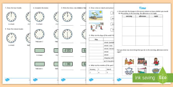 Early Level Assessment Time Activity Sheet - CfE Early Level Assessment, numeracy, mathematics, time, days, weeks, seasons, months, clocks, measu