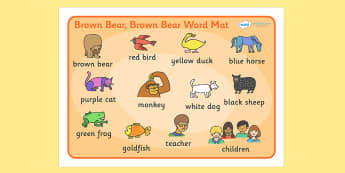 Word Mat (Images) to Support Teaching on Brown Bear, Brown Bear - Brown Bear, Brown Bear, Bill Martin,  red bird, yellow duck, blue horse, green frog, purple cat, colours, animals, animal names, story, story book, story book resources, story sequenci