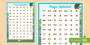Maya Alphabet Display Poster - maya, mayan, alphabet, display poster, display, poster