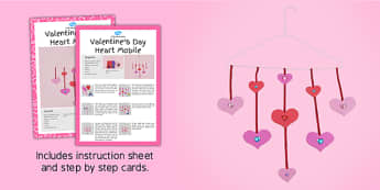 Valentine's Day Heart Mobile Craft Instructions - craft, valentine's day, heart, mobile, instructions
