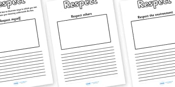 Respect Drawing And Writing Frames - respect, different, diversity, discrimination, behaviour, acceptance, differences, drawing and writing frames, pshe