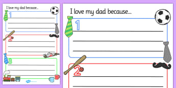I Love my Dad Writing Templates - Father's day, Father's day activity, Father's day resource, father, stepdad, dad, writing template, design, activity