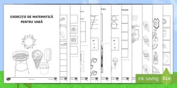"""Activități matematice pe tema """"Vara"""" Broșură - recunoașterea cifrelor, numerație, motricitate fină, arte, matematică, gândire logică,Romanian"""