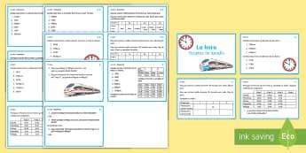 Tarjetas de desafío de matemáticas de atención a la diversidad: La hora - la hora, decir la hora, tiempo, el tiempo, reloj, relojes, analógico, digital, tarjetas de desafío